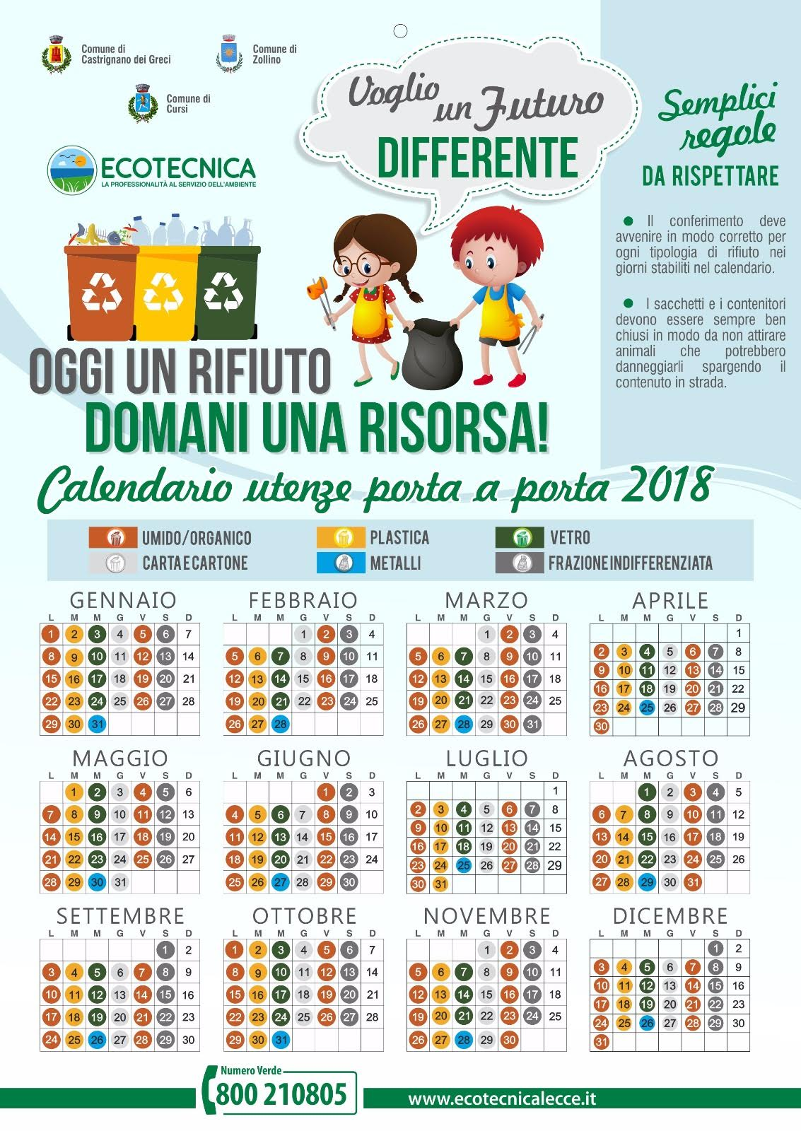 Calendario Differenziata.Raccolta Differenziata Comune Di Cursi